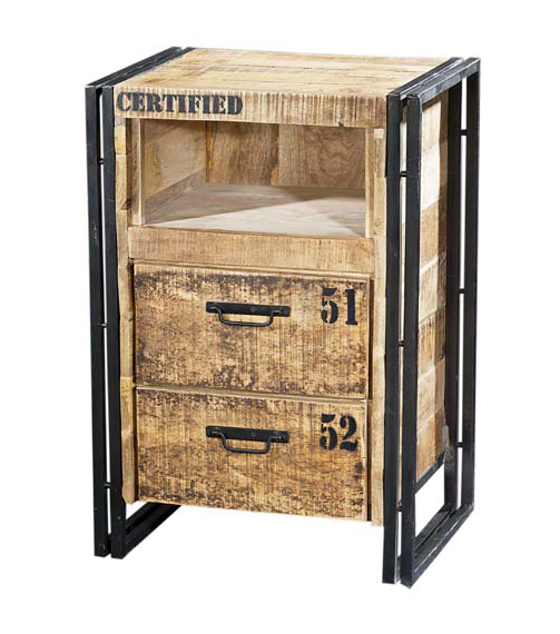 industrial chic nachtkommode mit schubladen schr nke. Black Bedroom Furniture Sets. Home Design Ideas