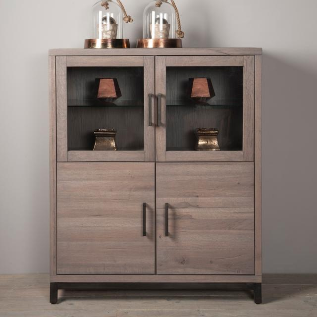 schrank eiche mit glas stone grey wash schrank industrial bei m belhaus d sseldorf. Black Bedroom Furniture Sets. Home Design Ideas