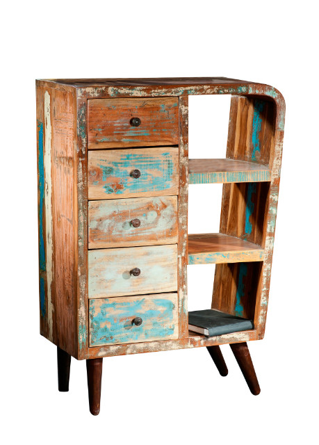 shabby chic schubladenkommde bunt aus altem holz vintage m bel bei m belhaus d sseldorf. Black Bedroom Furniture Sets. Home Design Ideas