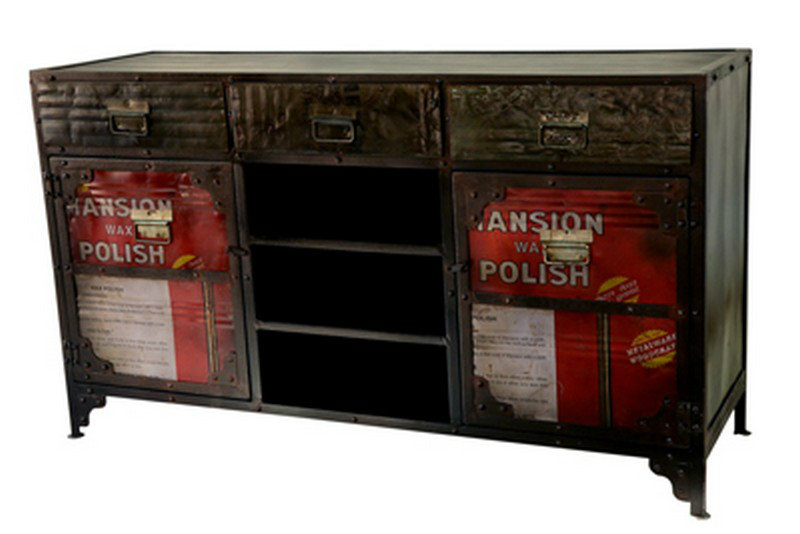 Sideboard Industrial Look ~ Retro urban industrial style metal sideboard cabinet drinks
