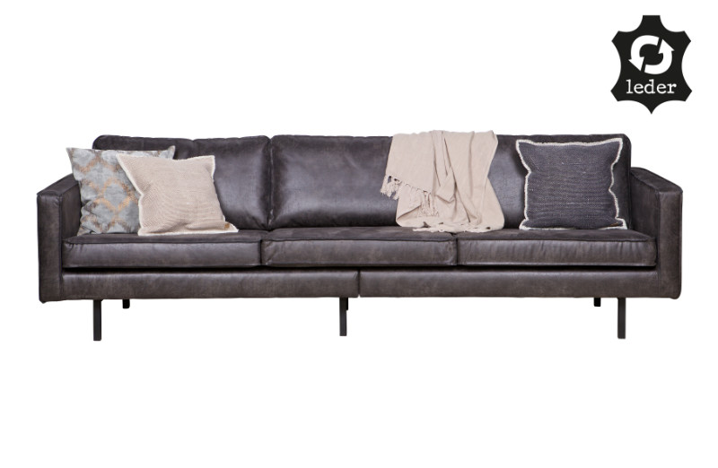 sofa 3 sitzer leder be pure home schwarz sofas sofas sessel st hle bei m belhaus d sseldorf. Black Bedroom Furniture Sets. Home Design Ideas