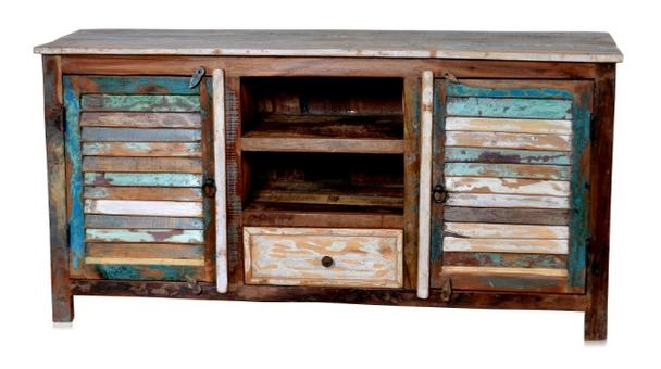 Tv Kommode Aus Recyceltem Holz Bunt Industrial Chic Mobel
